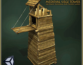 3D asset low-poly Animated Medieval Siege Tower