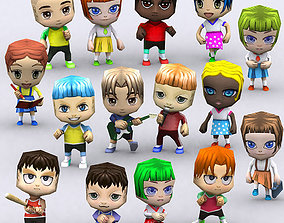 animated 3DRT - Chibii People Kids