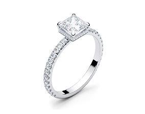 3D printable model Engagement Halo Ring Princess cut