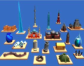 20 Cartoon Landmarks 3D model