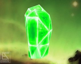 3D asset Game-Ready Green Monolith Crystal Rock