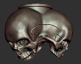 3D printable model cord Triple skull bead