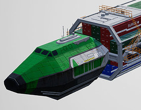 3D model game-ready Container Spaceship Freighter