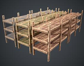 3D asset Rack Wooden Old Painted