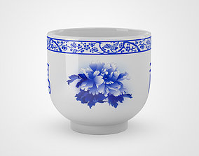 Chinese Blue and White Porcelain Teacup - Peony 3D model 1