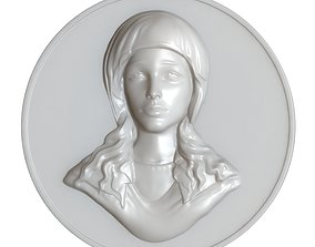 3D print model Maria Virgin Cameo Brooche 002