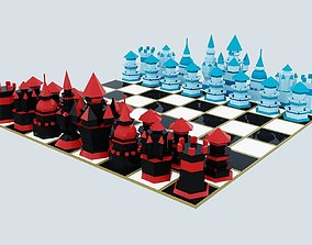 Low-poly fantasy chess 3D asset game
