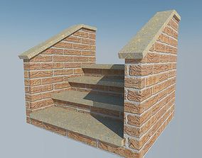 3D model brick steps with rail
