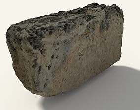 3D asset Scanned Old Cubic Stone