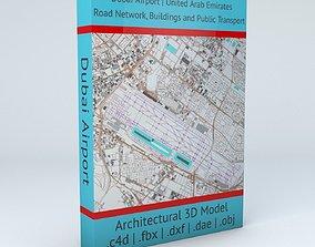 Dubai Airport DXB Airport Roads Buildings and 3D model 1