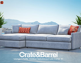 Lounge II Petite Outdoor Upholstered Sofa 3D model 1