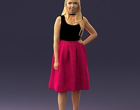 Girl in crimson skirt 0466 3D Print Ready