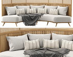 Garden round sofa R157 High back 3D model