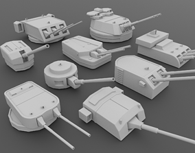 Naval Turret Collection 3D model