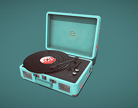 3D asset Low poly Retro Turntable