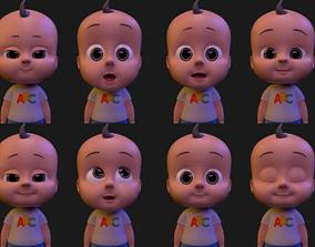 rigged Cartoon Baby Boy Rigged 3D model