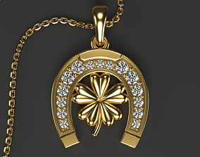 Horseshoe pendant with Clover and Gems 3D print model