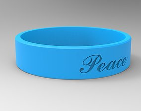 Peace Ring with Hard Rough Plastic Blue 3D printable model