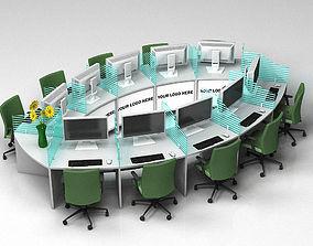 3D Curved workstation desk