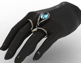 Diamond and Topaz Duble Ring 3D print model silver