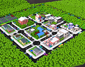 Cartoon city lowpoly pack 3D asset realtime