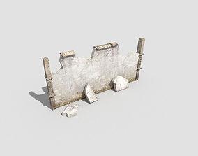 3D model VR / AR ready low poly broken wall