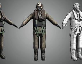 Fighter Pilot 3D model game-ready