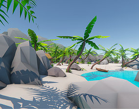 Lowpoly Tropical Island Pack 3D asset