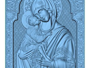 Mary with Child Medallion 3D print model