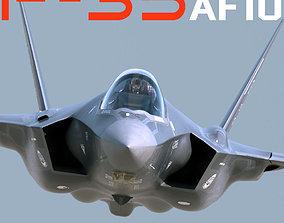 US Air Force F-35 AF-10 Lightning II with pilot 3D