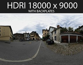 3D model Mountain Town HDRI hdr environment with