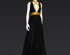 3D model Woman black gown