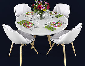 3D model VR / AR ready Dining table and chairs