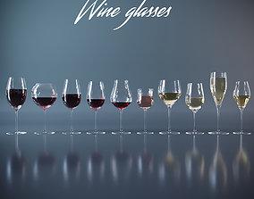 Set of wine glasses 3D asset