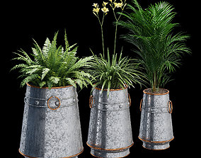 Barrel Planter Set 3D