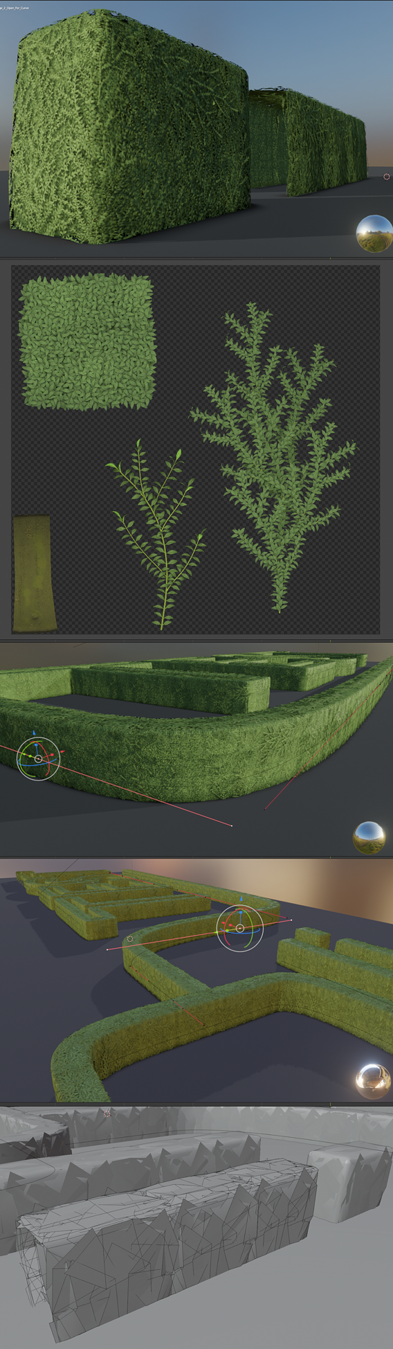 Low-Poly Boxwood Hedge Version 2 (Blender-2.91 Eevee)