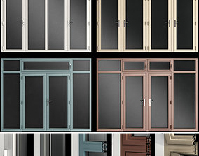 Stained aluminum fire doors steel 3D