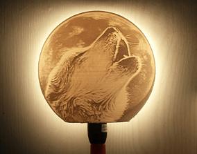 loup 3D printable model Wolf lamp litophane