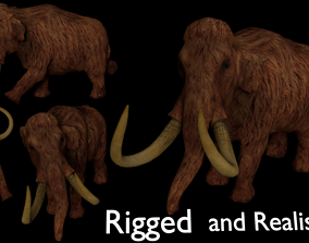 3D model animated Mammoth Realistic Low Poly