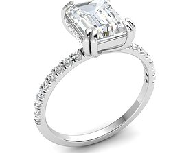 Emerald cut solitaire engagement rings 3D print model