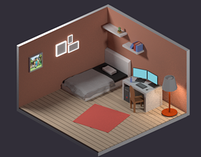 3D model low poly and isometric room for blender