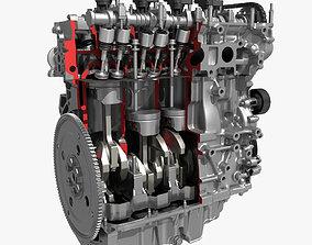 3D 4 Cylinder Engine Block Cutaway