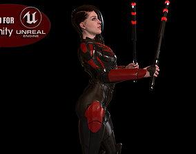 Super Hero Girl Game Ready 3D model