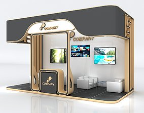 Exhibition Stand Booth Stall 6x3m Height 350cm 3 Side 3D