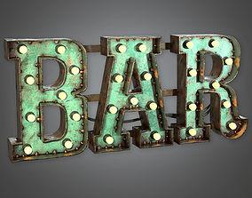 Large Light Up Letters 01 Dive Bar - PBR Game 3D model