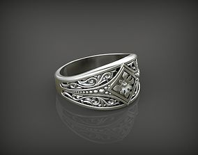 Ring with flower STL 3D printable model