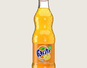 Fanta Drink Glass Bottle 3D model game-ready