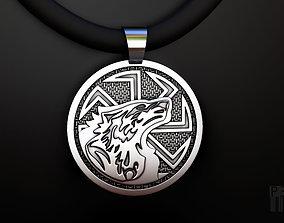 talisman Kolovrat pendant with wolf 3D print model