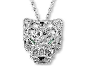 cartier tiger pendant with stones 3D print model