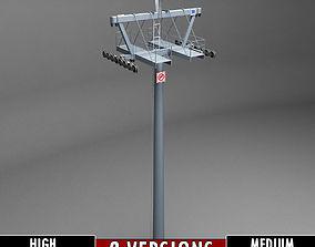 Ski lift mountain pole medium high poly 3D